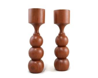 Vintage -Candle Holders- Candlesticks- Teak Wood