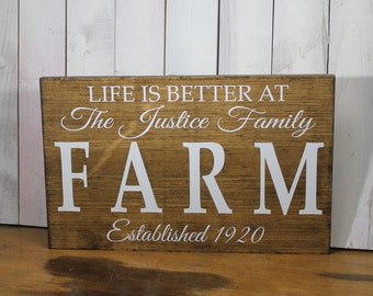 LIFE is Better at the FARM house Sign/Personalized/Large Sign/Wood Sign/Family Name/Established Date/Beach Decor/Farm