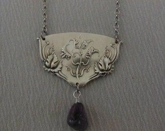 Amethyst Wine   Antique Fork Necklace