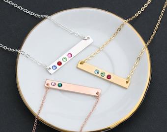 SALE • Birthstone Necklace • Birthstone Bar Necklace • Birthstone Jewelry • Rose Gold Bar Necklace • Crystal Bar • Child Birthstone • BB_17