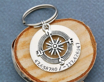 FREE SHIP • Personalized Coordinates Keychain • Compass Keychain • Gift For Him • Anniversary Gift • Location • Secret Message