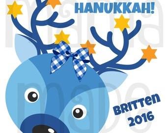 Girl's Hanukkah Shirt or Bodysuit Girl's Hanukkah Reindeer Shirt or Bodysuit Girls Personalized Hanukkah Shirt,Girl's Chanukkah Shirt