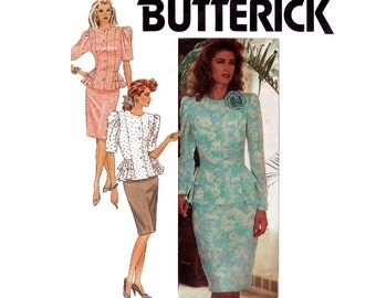 Butterick 3118 Womens Retro Slim Skirt & Peplum Top Prom Formal Wear 80s Vintage Sewing Pattern Size 8 10 12 Bust 31 1/2 32 1/2 34 inches