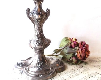 Antique Silver CandleStick. 1883 F.B.Rogers Silver Co. Antique Epergne CandleHolder. Ornate Triple Pediment. French Wedding Unity Candle