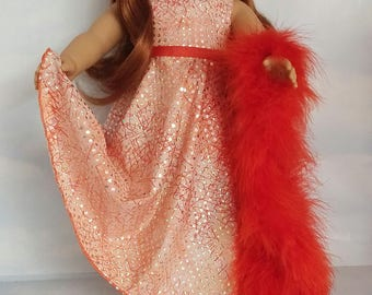 18 inch doll clothes - #222 Peach Sequin Gown handmade to fit the American girl doll - FREE SHIPPING