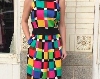 Colorblock Colorful Geometric Plaid 90s Dress Vintage Cotton Sleeveless M