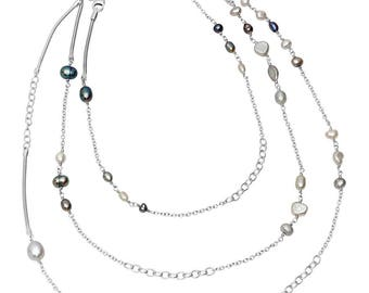 sterling silver Waterfall Pearl necklace: winter tones
