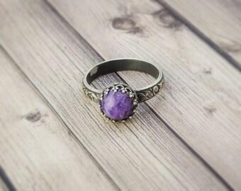 Charoite Bezel Ring, Charoite Stacking Ring, Charoite Ring, Purple Stone Ring, Purple Charoite, Russian Charoite, Maineteam