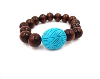 Wood Bracelet - Wood Jewelry - Wooden Bracelet - Wood Bead Bracelet - Bead Bracelet - Turquoise Anniversary Gift - Turquoise Magnesite Brace
