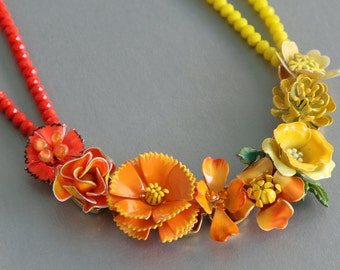Citrus Statement Necklace made from Vintage Enamel Earrings