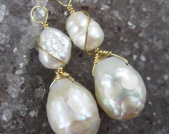 Double Pearl INTERCHANGEABLE Earring Charms in Gold - Faceted Tear Drop Pearl - Set Wire Wrapped Convertible Earrings Drops