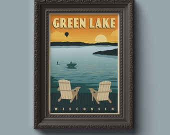 Lake Poster - Custom Travel Poster -  Cabin Poster - Lake Print - Family Cabin Print - Vintage Travel Poster - Vintage Lake Poster