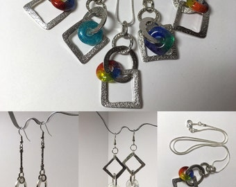 Free Shipping for Valentine's Day Handmade Glass Charm Pendant - Matching Earrings also available - Small Business Saturday Discount