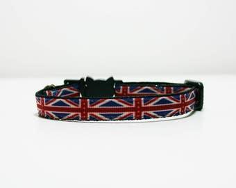 """Breakaway Union Jack British Cat Kitten Safety 3/8"""" Collar"""
