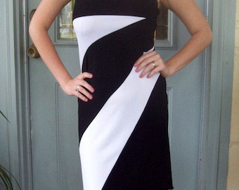 Vintage 80s Black and White Strapless Dress Stretch Dress Black and White Dress Party Dress Small Med Medium Jersey Dress Wedding Summer