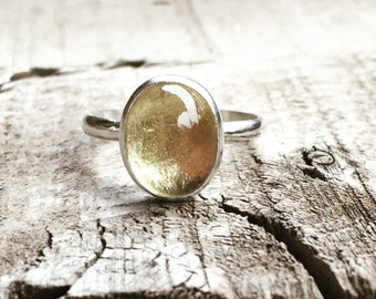 Feathered Oval Bright Yellow Gold Citrine Birthstone Ring in Sterling Silver