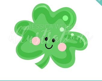 St Patricks Day Shamrock Cutie Cute Digital Clipart, St Patricks Day Clip art, Holiday Graphics, St Patricks Day Shamrock Illustration, #697