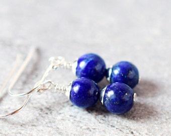 Stacked Lapis Earrings Lapis Lazuli Earrings Dark Blue Earrings Sterling Silver Grade A Lapis Jewelry Indigo Navy Birthstone Gift Women