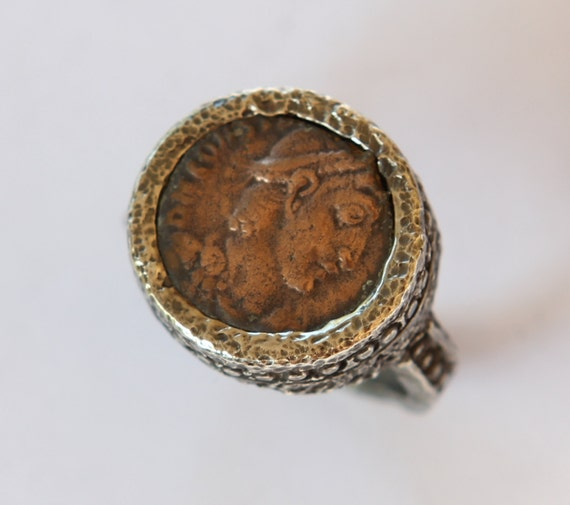 Authentic Ancient Roman Bronze Coin Ring In Sterling Silver Size 7