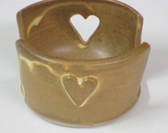 Sponge holder / candle holder / handmade / pottery / wheel thrown / yellow / heart