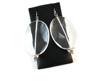 Large Clear Glass Earrings Sterling Silver Jewelry, Faceted Glass Oval Earrings Clear, Very Heavy Earrings for Ear Weights Perhaps