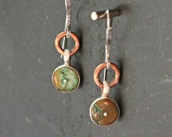 Boho Hippie Jewelry Turquoise Earrings Blue Earrings Long Earrings Coin Earrings Dangle Earrings Silver Earrings Drop Earrings Gift For Her