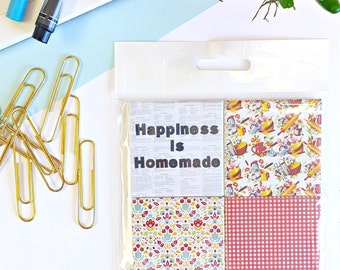 Happiness is Homemade Magnets - Set of Four 2-Inch Magnets - Home Cook - Chef - Homemade