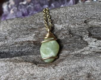 Wire Wrapped Jade Pendant - Natural Stone Necklace - Jade Jewelry - Bohemian Jewelry - Festival Fashion - Gypsy Boho Chic - Gemstone Jewelry