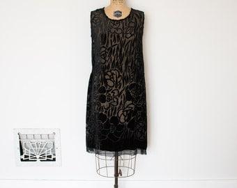 Vintage 1920s Dress - 20s Burnout Velvet Dress - The Clara