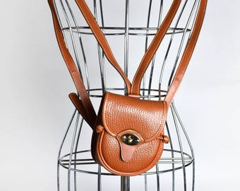 Small Brown Leather Backpack || Leather Purse || Shoulder Bag