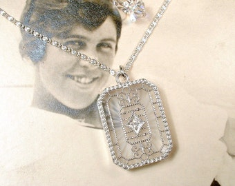 Vintage Art Deco DIAMOND Camphor Glass Necklace, Edwardian Sterling Silver Pendant, Bridal Necklace 1920s Flapper Vintage Wedding Jewelry