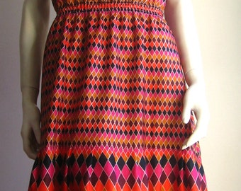 diamonds op art 70s vintage dress