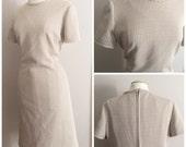Brown and Cream Houndstooth Dress // Vintage Mod Dress // Plus Size Vintage Mod