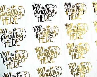 GOLD FOIL Yay it's finally here! handlettered stickers - gold stickers for packaging, penpal letters, party invitations, care packages
