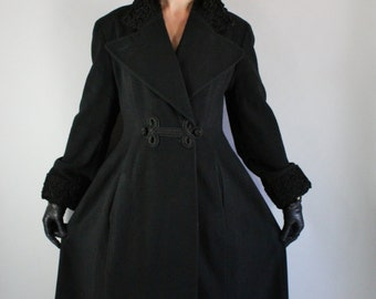 Vintage 90s does 50s Retro Women's Black Faux Curly Lamb Trimmed Perry Ellis Wool Russian Princess Gothic Romance Victorian Swing Coat
