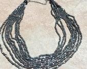 Multi Strand Gray and Brown Pebble Bib Necklace