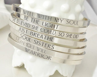 Sterling Silver Custom Mantra Bracelet . Inspirational Bracelet . .925 Graduation, Birthday, Teacher Gift