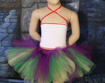 Mardi Gras Childs tutu tulle skirt mini peek a boo layered puffy girls todler dance ballet dress up play party - Grow with me - Enchanted