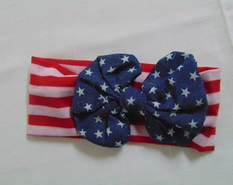 Fourth of July Party Hair Wrap- Girls Hair Wrap in Patriotic Red, Whit and Blue-Headband for the 4th of July