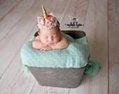 Legend - pink gold aqua tulle satin flower metallic unicorn horn ears headband bow