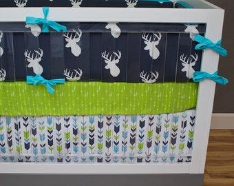 Woodland Nursery Bedding, Boy Crib Bedding, Deer Arrows Baby Bedding, Navy, Aqua, Lime Green, Gray, Deer, Antler, Buck, Arrow, Buck