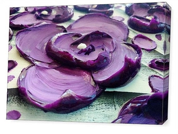 LE Deep Canvas Wrap Giclee Fine Art Print of Original Modern Art Impasto Painting 'Purple Poetry' Amber Lamoreaux Contemporary Purple Flower