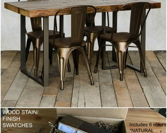 Rustic urban wood table with steel legs.  Finish/stain sample kit to try B4 you buy