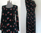 Diane Von Furstenberg Maxi Dress 1970s Long Sleeve Black Tulip Print T Shirt Gown