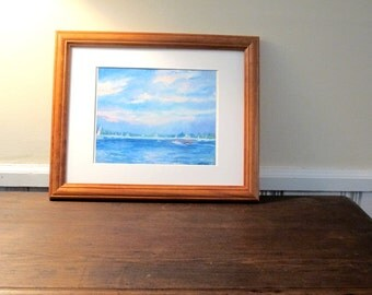 """Print """"Late Afternoon Mist"""" Harbor Scene, Painting , 11 x 14 Matted , Ready To Be Framed"""