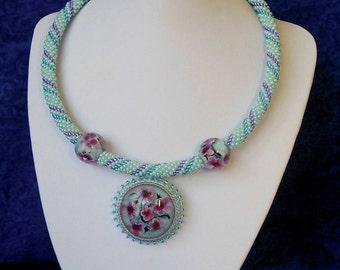 Choker Collar necklace pendant  lampwork glass blue purle flowers  handmade