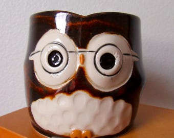 Nerdy Hooter Owl Mug (Al) in Rustic Brown Handmade Stoneware - Ready To Ship