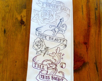 Proceeds To Charity I Never Saw True Beauty Till This Night <o>  Romeo and Juliet Quote By William Shakespeare Kitchen Towel
