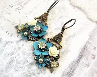 Aqua & Ivory Rose Bouquet, Miriam Haskell Style Vintage Turquoise Enamel and Resin Flowers, Rhinestone Altered Vintage Assemblage Earrings