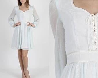 Boho Dress Lace Dress Boho Wedding Dress Pale Blue Dress 70s Dress Hippie Dress Vintage Floral Lace Corset Boho Prairie Festival Mini Dress